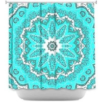 DiaNoche Designs Shower Curtains by Monika Strigel Stylish, Decorative, Unique, Cool, Fun, Funky Bathroom - Fairy Dream Mandala Fresh Mint