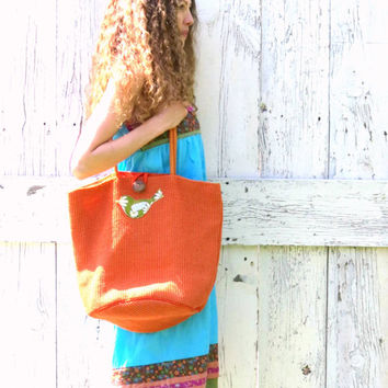 Large Hobo Purse , Orange Beach Bag , Bird altered jute Market Tote , upcycled recycled repurposed clothing and accessories by wearlovenow