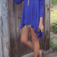 The Brentwood Cobalt Scoop Neck Long Sleeve Asymmetrical Hem Top