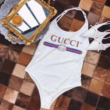 White GUCCI Swimsuits Bikini Set Bathing Suits