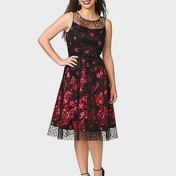 LUXE by Carmen Marc Valvo Floral Polka-Dot Dress | dressbarn