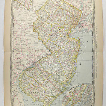 Vintage Map New Jersey, NJ Map 1881 Rand McNally New Jersey Map, Vintage Home Decor, New Jersey Gift for Friend, East Coast State Map