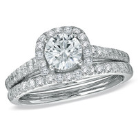 1-3/4 CT. T.W. Diamond Framed Bridal Set in 14K White Gold - View All Rings - Zales