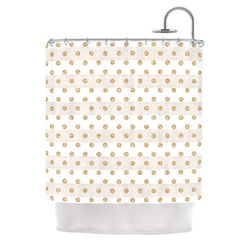 "Pellerina Design ""Linen Polka Stripes"" Gold Dots Shower Curtain"