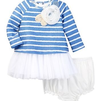 Pippa & Julie | Long Sleeve Striped Tulle Skirt Dress & Bloomer Set (Baby Girls) | Nordstrom Rack
