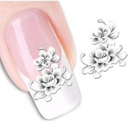 1sheets Fashion White Flower Beauty Polish Items Nail Art Decals French Tips Water Transfer Tattoos Stickers Nail Tool LASTZ-048