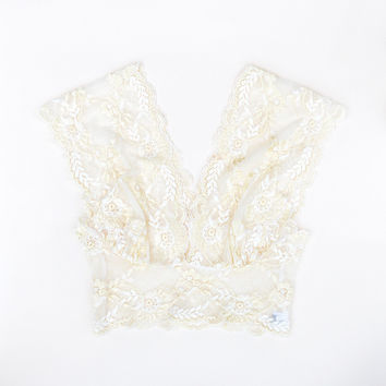 Vintage Style Wide Lace Bralette Crop Top in Buttermilk by Brighton Lace