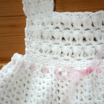 Crochet baby girl dresses 6 to12 months Cute pinafore jumper Handmade infant toddler white crocheted dresses Handmade baby girl clothes Gift