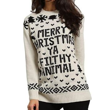 [14692] Merry Christmas Ya Filthy Animal Sweater