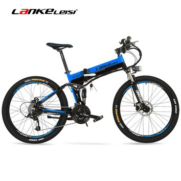 "XT750D 500W Super Power High Quality 26"" Foldable Electric Bicycle, 36V/48V Hidden Lithium Battery Mountain Bike MTB E Bike"