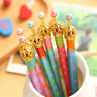 0.5mm Cute Kawaii Metal Crown Ballpoint Pen Dot Ball Point Pens for Writing Stationery School Office Supplies 424