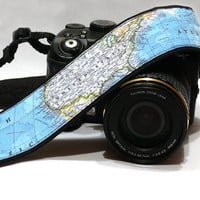 Camera Strap. World Map Camera Strap, dSLR Camera Strap, SLR, Camera Shoulder, Neck Strap, Women Accessories
