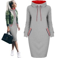 New Winter Dress Bandage Striped I