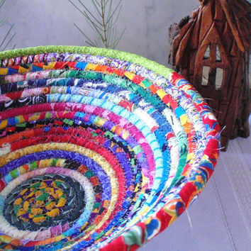Gypsy  Round Coiled Bohemian Basket Colorful by YellowViolet