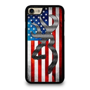 BROWNING CAMO AMERICAN FLAG iPhone 4/4S 5/5S/SE 5C 6/6S 7 8 Plus X Case
