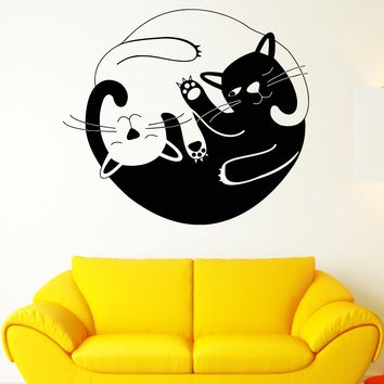 Vinyl Wall Decal Funny Cats Yin Yang Buddhism Symbol Stickers Unique Gift (1889ig)
