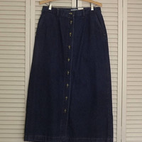Long Denim Skirt, Long Blue Jean Skirt, Floor Length Mid Calf Skirt, Vintage Long Blue Skirt, Button Up Front Skirt, Size Large US 12 Skirt
