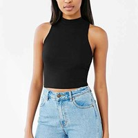 Silence + Noise Mock-Neck Cropped Tank Top- Black
