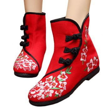 Fashion Online Vintage Beijing Cloth Shoes Embroidered Boots 12-02  Red 35