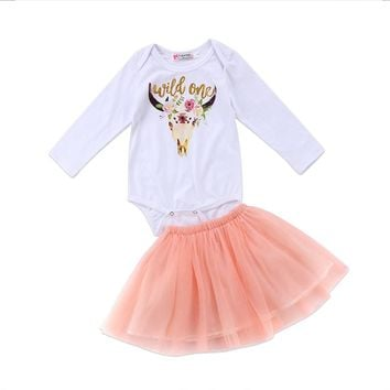 Long Sleeve Floral Deer Print Cotton Romper Tops+Pink Tutu Skirt 2PCS
