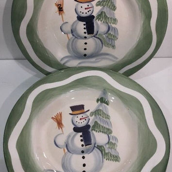 Tabletops Unlimited Holiday Espana Hand Painted Snowman X-mas 3Pc. Soup Bowls