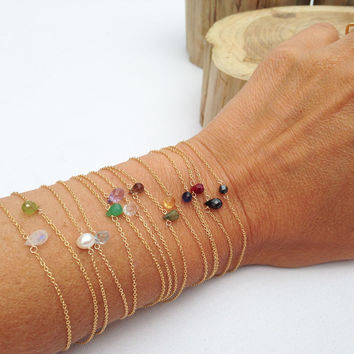 Tiny Gold Gemstone Bracelets