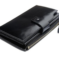 Tom Clovers Large Capacity Oil Wax Leather Purse Genuine Leather Wallet Clutch with Zipper Pocket