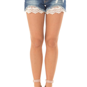 Denim Distressed Shorts with Lace Peek a Boo