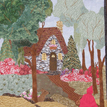 Art Quilt Little Red Riding Hood Quilted Art Landscape Quilt Wall Art