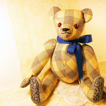 Vintage Teddy Bear, Jointed, Stuffed Bear, OOAK Signed, Red White Blue Plaid Bear, Maker's Tag