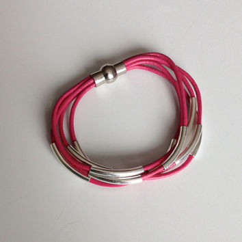 Ready to ship 7 3/4 Inch Leather Bracelet  - 5 Strand  Pink Leather Bracelet with Silver Tube Bead