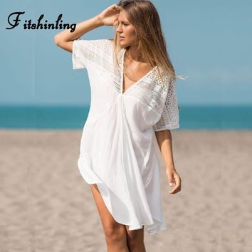 Fitshinling BOHO white dresses for women v neck A-line lace patchwork short summer beach dress swimwear output big size pareos