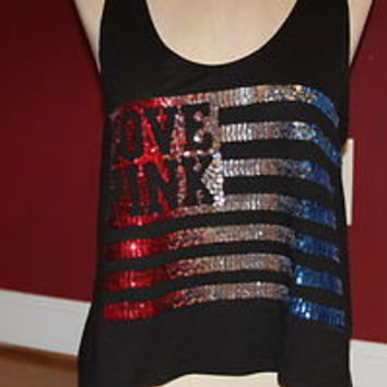 a7ffb18d1be26 VICTORIAS SECRET BLING USA 4th OF JULY AMERICAN FLAG LOVE PINK CROP TANK  TOP M