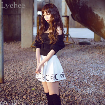 Lychee Harajuku Punk Rock Goth Summer Women Skirt Goth Witch Pentacle Moon Print Kawaii Waist Mini Skirt