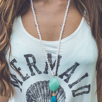 Bead It Necklace in Turquoise and Ivory