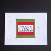 Peace On Earth Christmas Note Cards - Red, Green, & White - Handmade Notecards - Set of 3 - Envelopes included