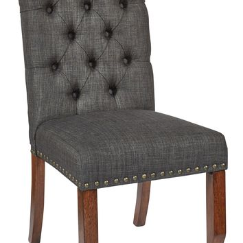 Office Star Charcoal Jessica Tufted Dining Chair