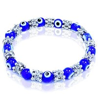 Evil Eye Glass Beads Bracelet with Rhinestones and Rhodium Plated Spacers