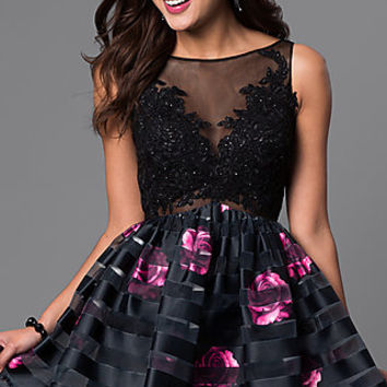 Fit and Flare Short Dress with Floral Print Skirt