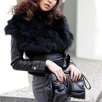 iOffer: women faux fur vest coats short shawls cape leather for sale