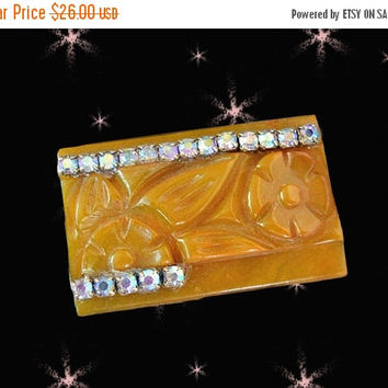 SALE OOAK Carved Fakelite not Bakelite Brooch with Aurora Rhinestones - Retro Pin Made with Vintage