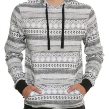 RUDE Distressed Geometric Stripe Hoodie