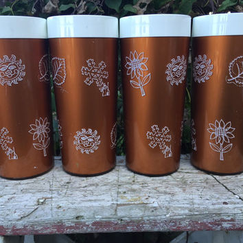4 RETRO Thermo-Serv Westbend insulated tall tumblers,Bronze Four seasons insulated Tumblers, picnic camping glasses, vintage Thermo-Serv