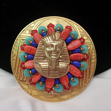 Larry Vrba for Miriam Haskell Egyptian Pharoah Medallion Brooch Pin Inspired by King Tut