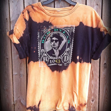 Hand Bleached, tie dyed bob Dylan shirt size large......unisex