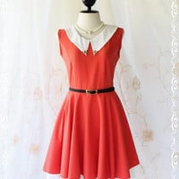 Vintage School Girl II - School Girly Casual Dress Vintage Inspired Bright Red Color With White Peak Collar XS-S