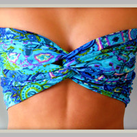 Etsy Transaction -          NEW - Paisley Blue Green Bandeau Top - Spandex Bandeau - Bandeau