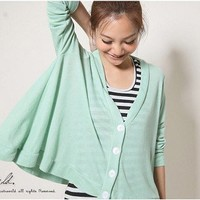 Korean Fashion Single Breasted Loose Knitting Cardigan Coat Green-Wholesale Women Fashion From Icanfashion.com