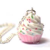 Pink Cupcake Necklace with Rainbow Sprinkles - Cute, kawaii fake miniature food jewelry