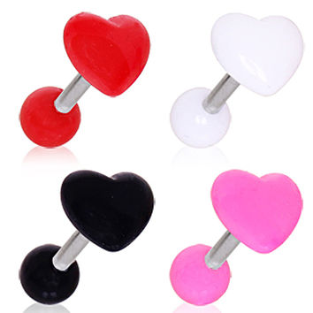 316L Surgical Steel Cartilage Earring with Acrylic Heart